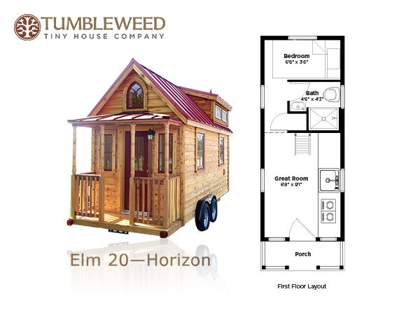 117 sq ft no loft tiny home tumbleweed elm 20 horizon tiny Tiny Cabin Floor Plans With Loft