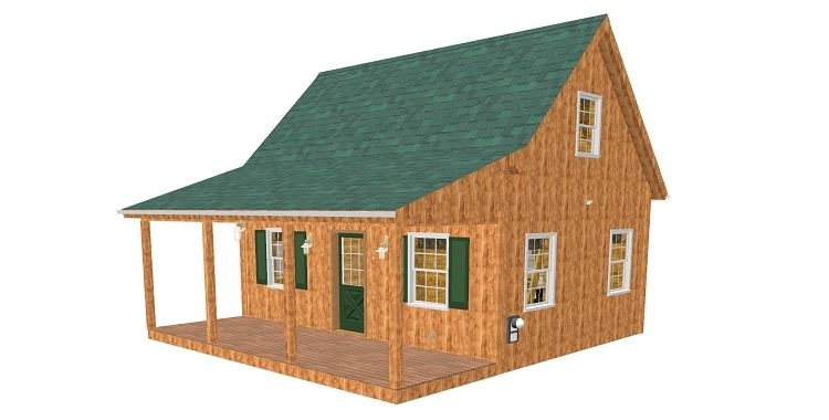 adirondack cabin plans 18x24 with cozy loft and front porch 15 Adirondack Cabin Plans 16 X24 With Loft