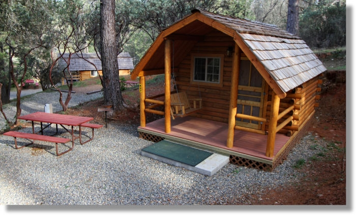 cabin at the koa campground in midpines california Cabin Camping In California