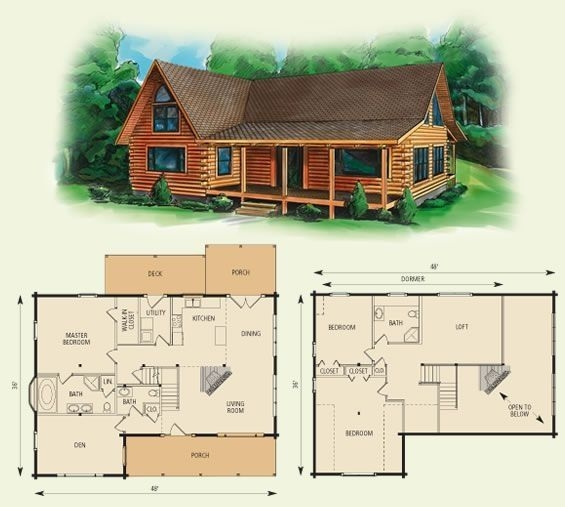 cabin floor loft with house plans dogwood ii log home and log Cabin Floor Plans With Loft