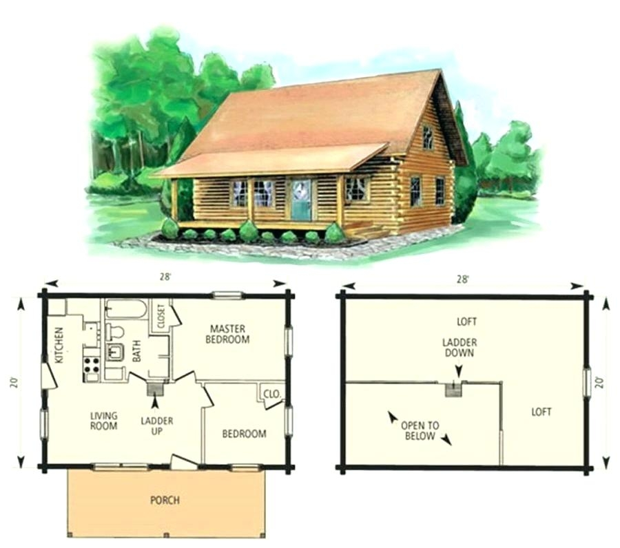 cabin plans with loft bedroom krichev Cabin Plans With Loft And Porch