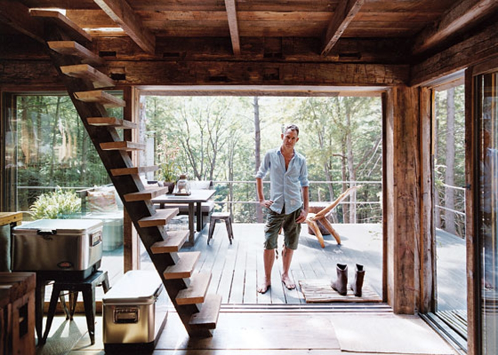 fashion stylist scott newkirk goes unplugged in his 14 square foot Small Off Grid Cabin Interior