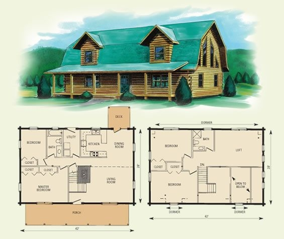 gambrel style barn homes jefferson ii log home and log cabin floor Log Cabin Home Plans With Loft