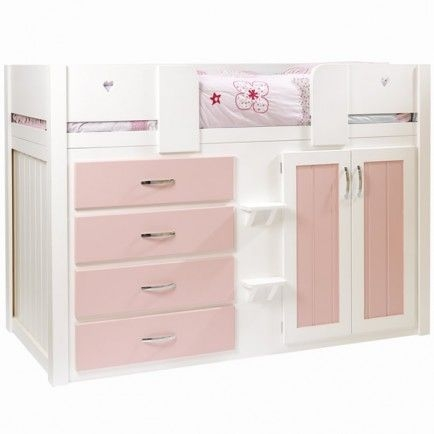 kids cabin bed white and princess pink meeps furniture pinterest Kids Cabin Beds With Storage