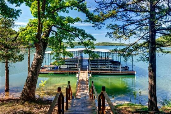 large dock with swim deck and boat slips picture of lake shore Lake Shore Cabins On Beaver Lake