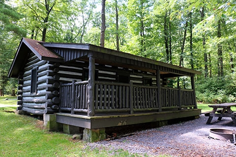 lodging locations map Cook Forest State Park Cabins