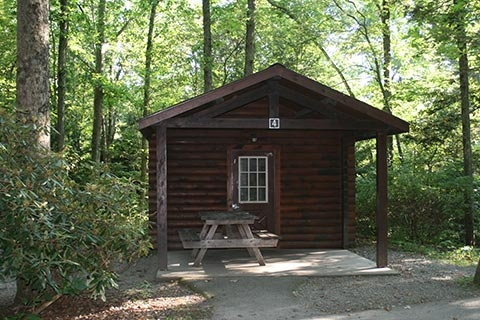 lodging locations map Worlds End State Park Cabins