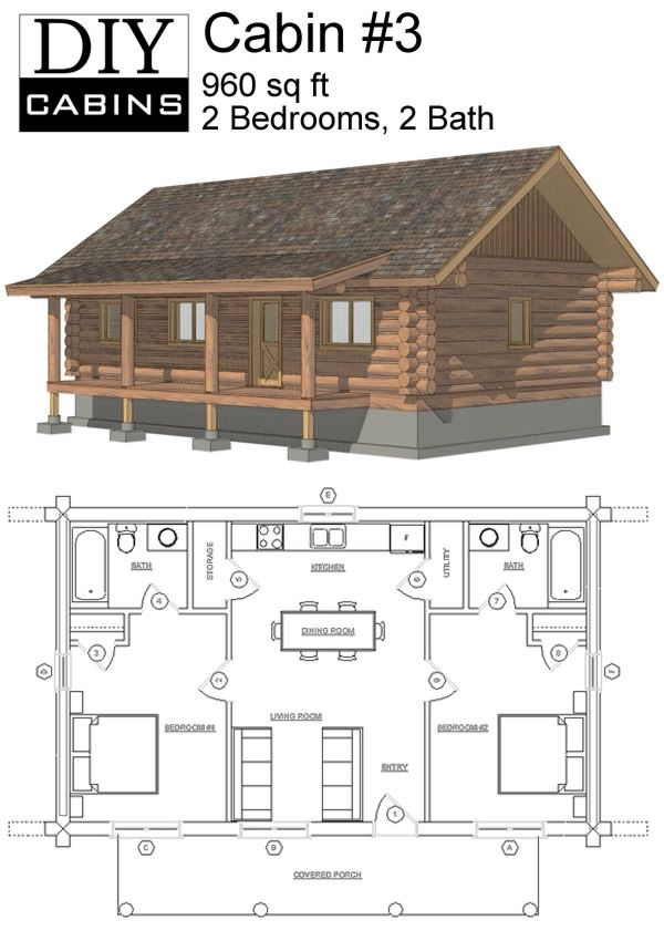 maybe widen second for bunks or add a loft space with small beds or Log Cabin Floor Plans With 2 Bedrooms And Loft
