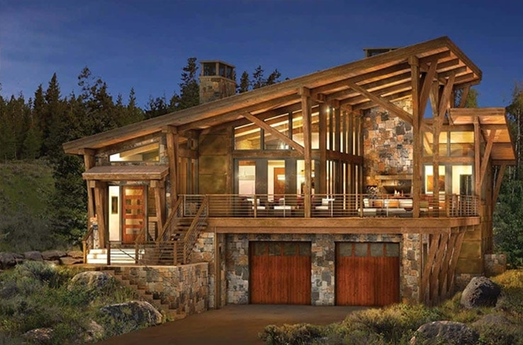 modern log and timber frame homes and plans precisioncraft Log Cabin Style House Designs