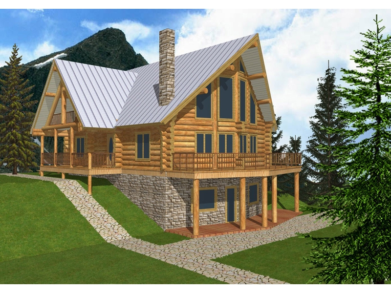 mountview a frame log home plan 088d 0003 house plans and more Log Cabin House Plans With Loft