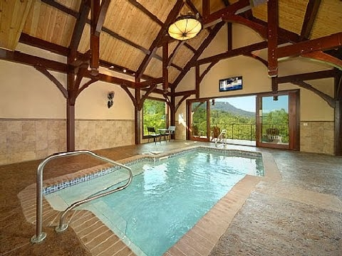 private indoor pool cabin with a view pool on summit point youtube Smoky Mountain Cabins With Private Pools
