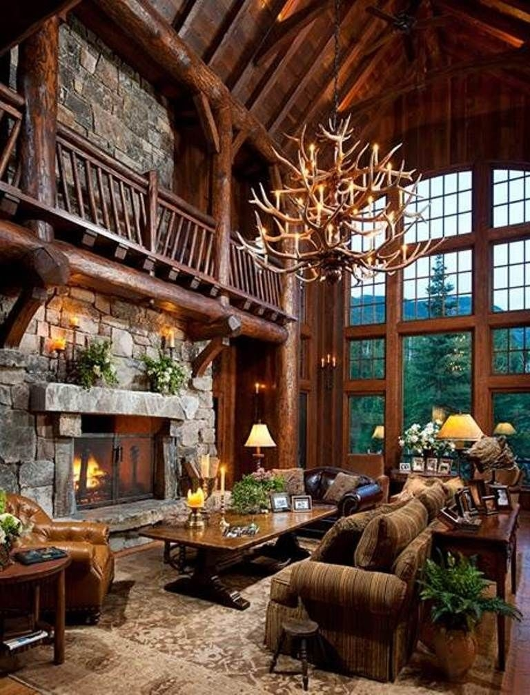 rustic decorating but seriously the antler chandelier totally Pinterest Outdoor Cabin Decor