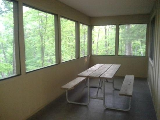 screen porch in basic wildlife cabin picture of lake hope state Lake Hope State Park Cabins