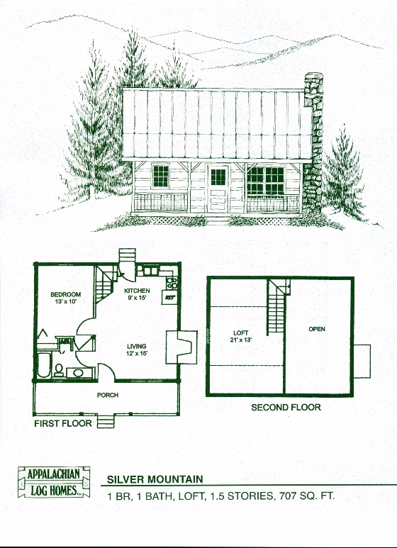 silver mountain 1 bed 1 bath 15 stories 707 sq ft Mountain Cabin Plans With Loft