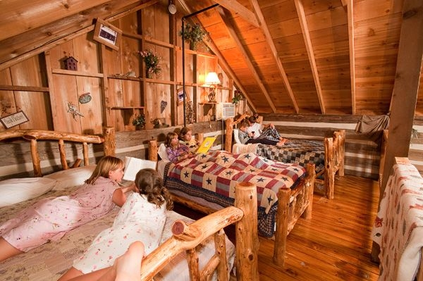 sleeping loft in cabins at silver dollar citys the wilderness Wilderness Cabins Branson Mo