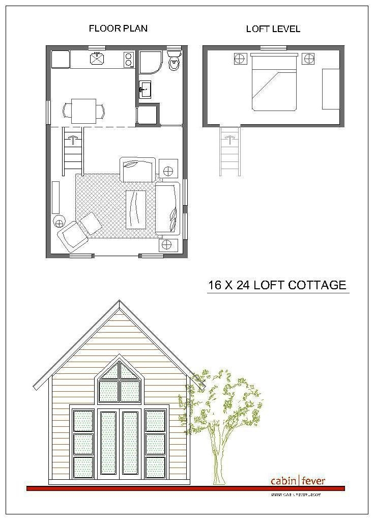 small cabin design 16 x 24 just right for two a great idea for a 16x20 Cabin Plans With Loft