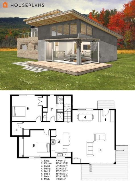 small modern cabin house plan freegreen homes in 2018 Modern Cabin Plans With Loft