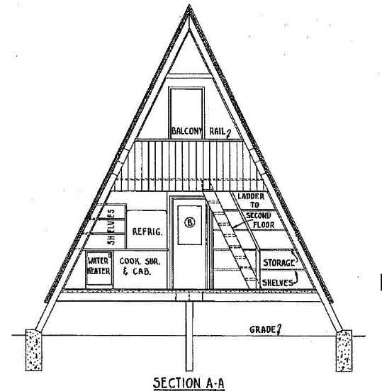 a frame house plan with deck A Frame Cabin With Loft Plans