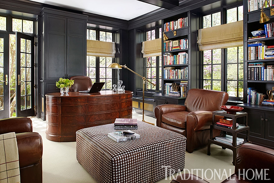 handsome rooms with a masculine vibe traditional home White Walls Brown Furniture Cabin Style Home