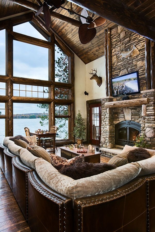 liking this nicolet floor plan thinking this might be the one log White Walls Brown Furniture Cabin Style Home