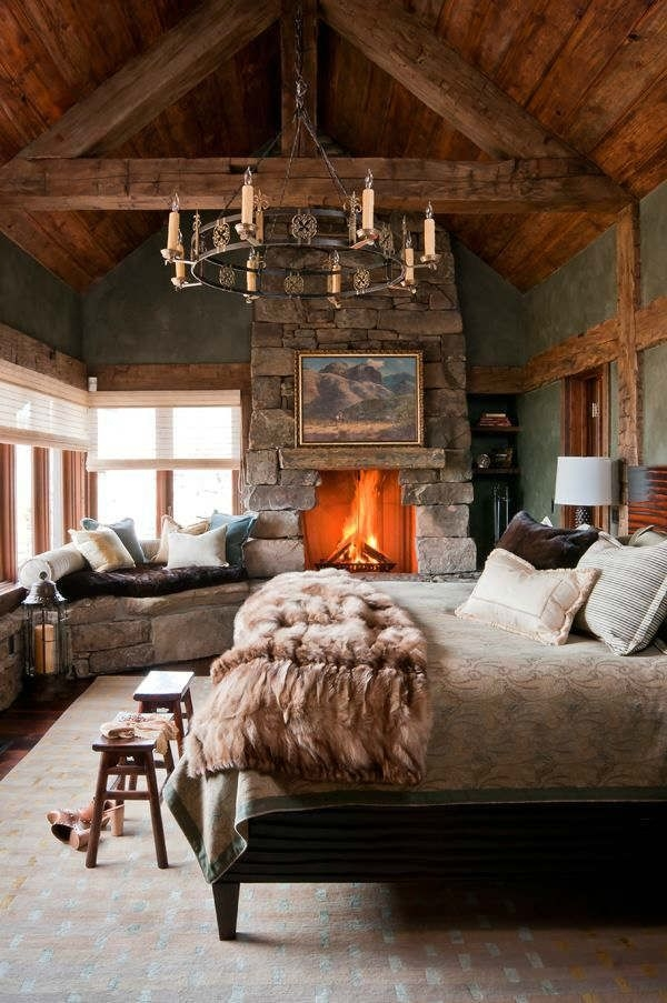 rooms to love luxurious lodge bedroom the distinctive cottage White Walls Brown Furniture Cabin Style Home