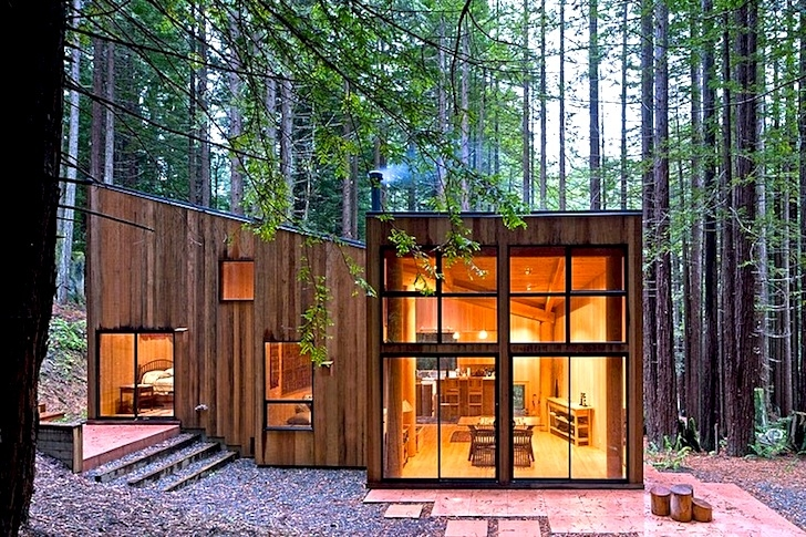 wooden sea ranch cabin is nestled in a californian redwood forest Redwood National Park Cabins